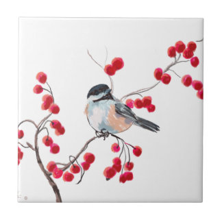 CHICKADEE & RED BERRIES by SHARON SHARPE Small Square Tile