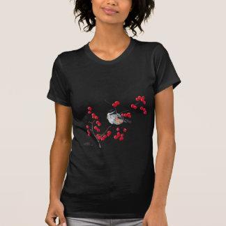 CHICKADEE & RED BERRIES by SHARON SHARPE T-Shirt