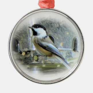 Chickadee Silver-Colored Round Decoration