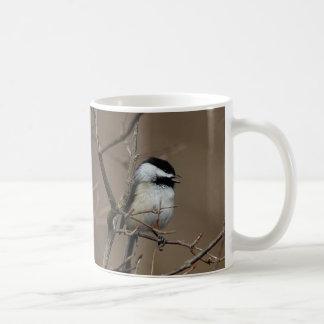 Chickadee singing coffee mug
