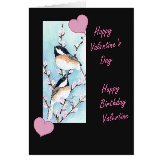 Chickadee Valentine Birthday Card
