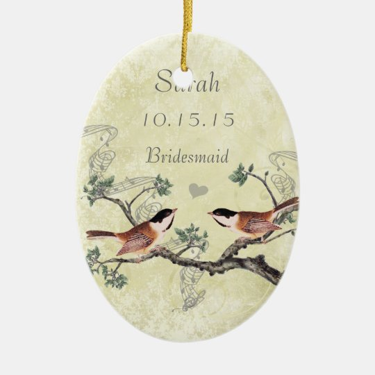Chickadee Vintage Bird Maid of Honour Ornaments
