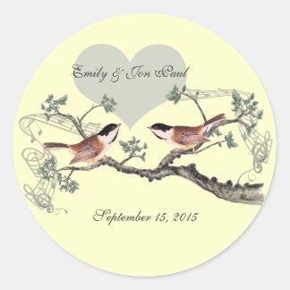 Chickadee Vintage Love Birds Wedding Stickers