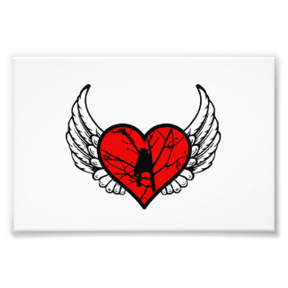 Chickadee Winged Heart Love Birds Silhouette Photographic Print