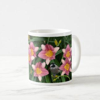 Chickadee with Pink and Gold Flowers - Coffee Mug