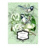 Chickadees and  Magnolias 5x7 Wedding Invitation