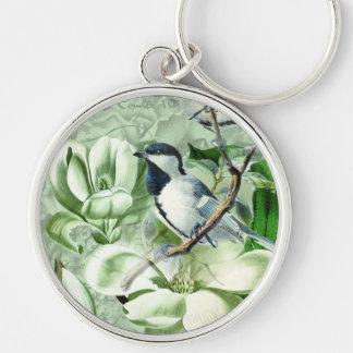 Chickadees and Magnolias Keychain