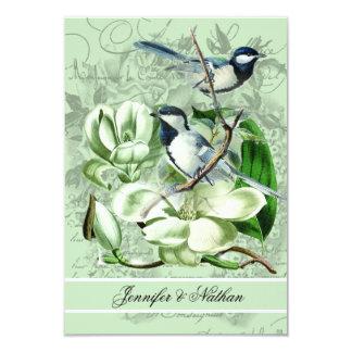 "Chickadees and Magnolias RSVP Card 3.5"" X 5"" Invitation Card"