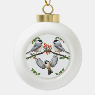 Chickadees on Red Berry Branches Holiday Ornament