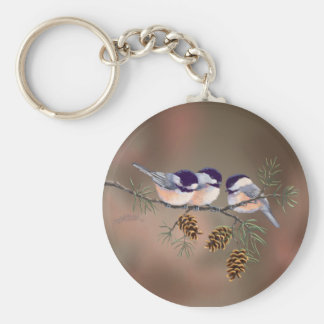 CHICKADEEs & PINE CONES by SHARON SHARPE Basic Round Button Key Ring