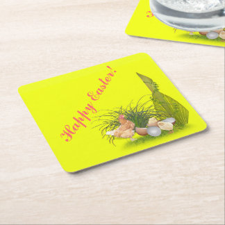 Chicken and Chicks Square Paper Coaster