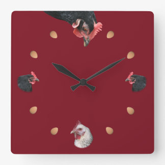 Chicken and egg square wall clock