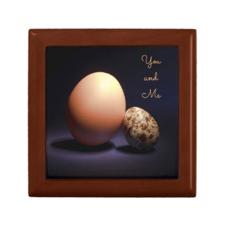 Chicken and quail eggs in love. Text «You and Me». Gift Box