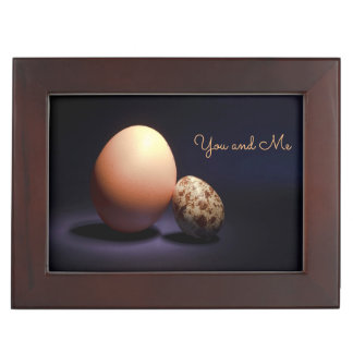 Chicken and quail eggs in love. Text «You and Me». Keepsake Box