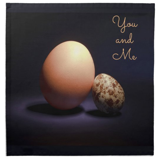 Chicken and quail eggs in love. Text «You and Me». Napkin