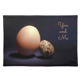 Chicken and quail eggs in love. Text «You and Me». Placemat