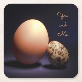 Chicken and quail eggs in love. Text «You and Me». Square Paper Coaster