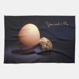 Chicken and quail eggs in love. Text «You and Me». Tea Towel