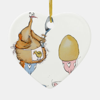 chicken and the egg cartoon, tony fernandes ceramic heart decoration