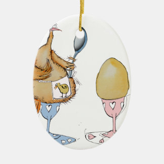 chicken and the egg cartoon, tony fernandes ceramic oval decoration