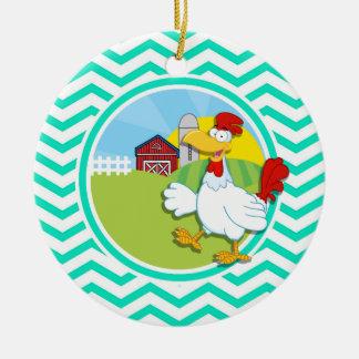 Chicken Aqua Green Chevron Christmas Tree Ornament