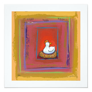 Chicken art hen laying eggs fun colorful painting card