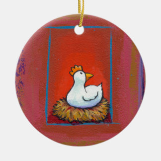 Chicken art hen laying eggs fun colorful painting christmas ornament