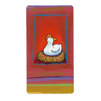 Chicken art hen laying eggs fun colorful painting shipping label