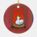 Chicken art hen laying eggs fun colourful painting round ceramic decoration