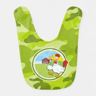 Chicken; bright green camo, camouflage bib