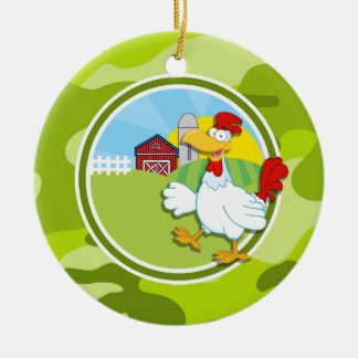Chicken; bright green camo, camouflage Double-Sided ceramic round christmas ornament