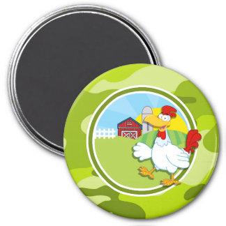 Chicken bright green camo camouflage fridge magnet