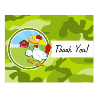 Chicken; bright green camo, camouflage postcards