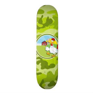 Chicken bright green camo camouflage skate board deck