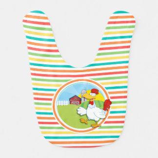 Chicken; Bright Rainbow Stripes Baby Bibs