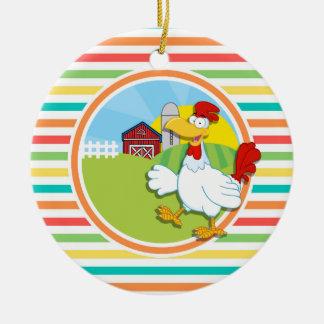 Chicken Bright Rainbow Stripes Christmas Ornaments