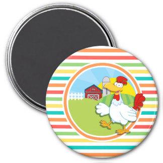 Chicken Bright Rainbow Stripes Magnets