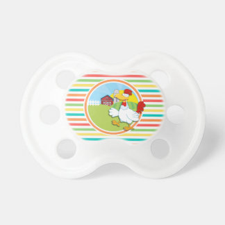 Chicken Bright Rainbow Stripes Pacifiers
