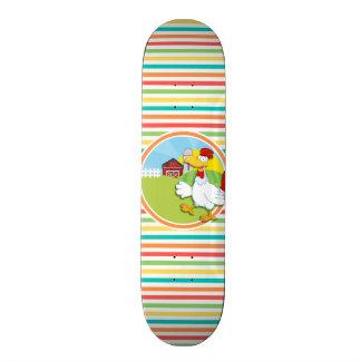 Chicken Bright Rainbow Stripes Skate Board Deck