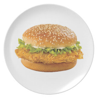 """Chicken Burger"" design dinner plate"