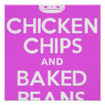 Chicken, Chips and Baked Beans (pink) Poster