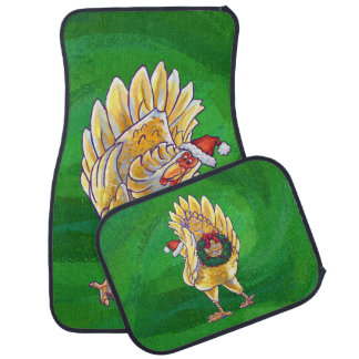 Chicken Christmas On Green Floor Mat