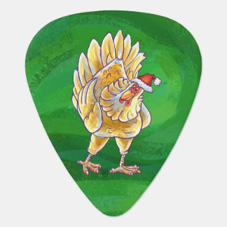 Chicken Christmas On Green Guitar Pick
