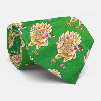 Chicken Christmas On Green Tie