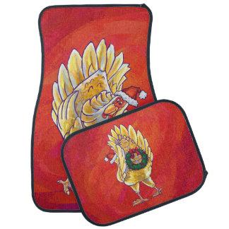 Chicken Christmas On Red Floor Mat