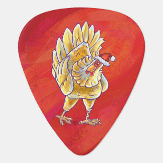 Chicken Christmas On Red Guitar Pick