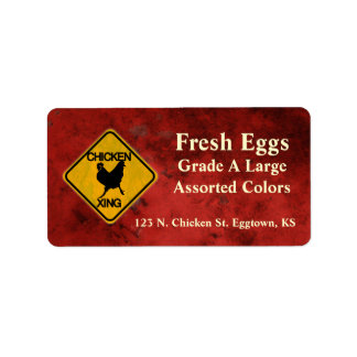 Chicken Crossing Egg Label Address Label
