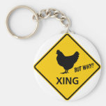 Chicken Crossing Highway Sign Basic Round Button Key Ring