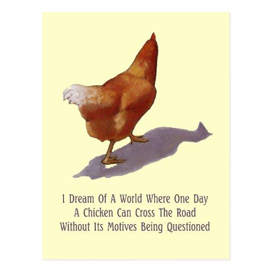 Chicken Crossing Road: Funny: Artwork Postcard