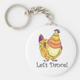 Chicken Dance Basic Round Button Key Ring